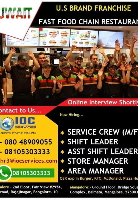 WALK-IN INTERVIEW AT BANGALORE AND MANGALORE FOR U.S BRANCH FRANCHISE FAST FOOD CHAIN RESTAURANT KUWAIT ONLINE INTERVIEW