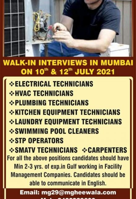 WALK-IN INTERVIEW AT MUMBAI FOR UAE LEADING FACILITY MANAGEMENT COMPANY