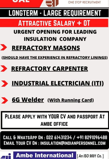 WALK-IN INTERVIEW AT MUMBAI FOR UAE OPENING FOR LEADING INSULATION COMPANY