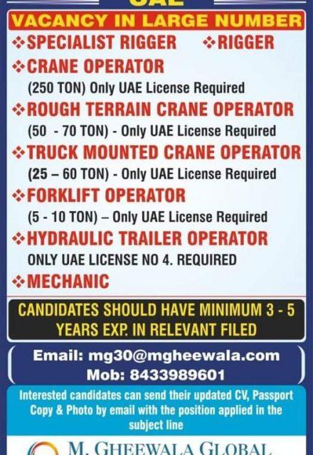 WALK-IN INTERVIEW AT MUMBAI FOR UAE HEAVY EQUIPMENT RENTAL COMPANY