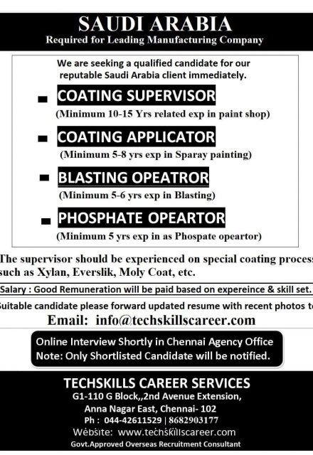 WALK-IN INTERVIEW AT CHENNAI FOR SAUDI ARABIA LEADING MANUFACTURING COMPANY