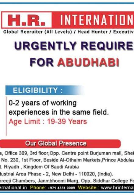 WALK-IN INTERVIEW AT DUBAI, KSA, DELHI, MUMBAI FOR ABUDHABI URGENTLY REQUIRED