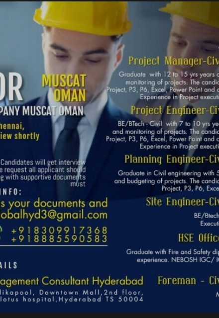 WALK-IN INTERVIEW AT HYDERABAD FOR MUSCAT OMAN LEADING CONTRACTING COMPANY INT. IN HYDERABAD