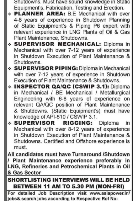 WALK-IN INTERVIEW AT MUMBAI, CHENNAI, DELHI REFINERY, PETROCHEMICAL, OIL & GAS, CEMENT, STEEL PLANTS, POWER AND CHEMICAL PROJECTS IN OMAN