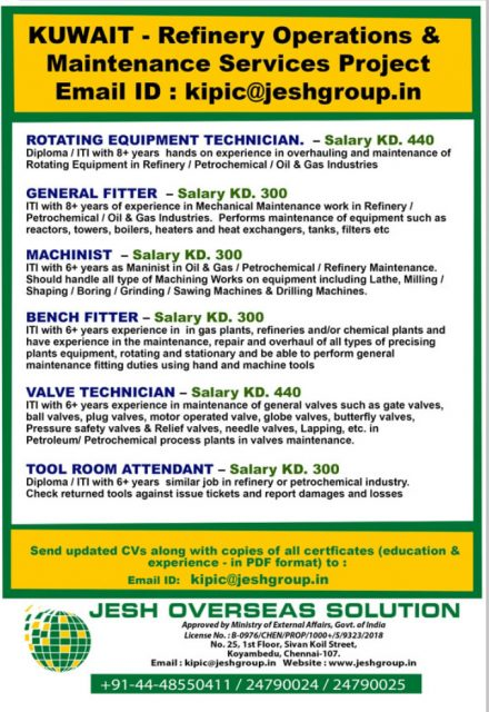 WALK-IN INTERVIEW AT CHENNAI FOR KUWAIT REFINERY OPERATION AND MAINTENANCE SERVICE PROJECT