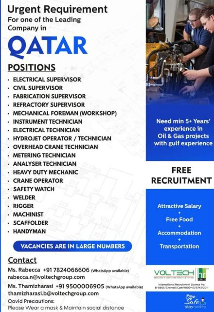 WALK-IN INTERVIEW AT CHENNAI FOR QATAR LEADING COMPANY