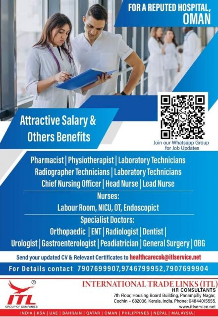 WALK IN INTERVIEW IN COCHIN FOR A REPUTED HOSPITAL IN OMAN