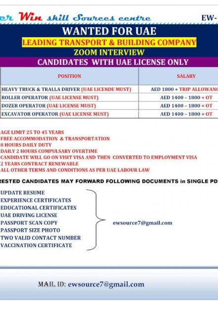 WALK-IN INTERVIEW AT MUMBAI FOR UAE LEADING TRANSPORT AND BUILDING COMPANY