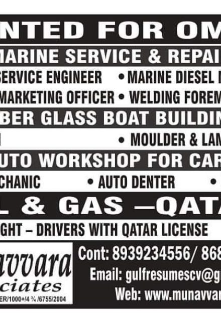 WALK IN INTERVIEW IN MUMBAI FOR A LEADING COMPANY IN OMAN